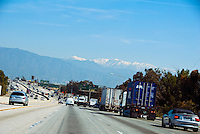 State Route l-605 (SR 605) highway, Interstate 605  I-605, San Gabriel River Freeway,  San Bernadino, CA, Mountains, Road, Route 605 Sign