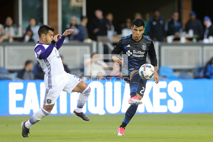 San Jose, CA - Wednesday May 17, 2017: Nick Lima during a Major League Soccer (MLS) match between the San Jose Earthquakes and Orlando City SC at Avaya Stadium.