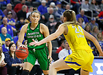 SIOUX FALLS, SD - MARCH 7: Olivia Lane #34 of the North Dakota Fighting Hawks looks for an opening to the basket again Tagyn Larson #24 of the South Dakota State Jackrabbits at the 2020 Summit League Basketball Championship in Sioux Falls, SD. (Photo by Richard Carlson/Inertia)