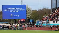 Owen Farrell of Saracens (R) kicks a conversion as the big screen displays a message during the Aviva Premiership match between Saracens and Bath Rugby at Allianz Park, Hendon, England on 26 March 2017. Photo by Stewart  Wright  / PRiME Media Images.