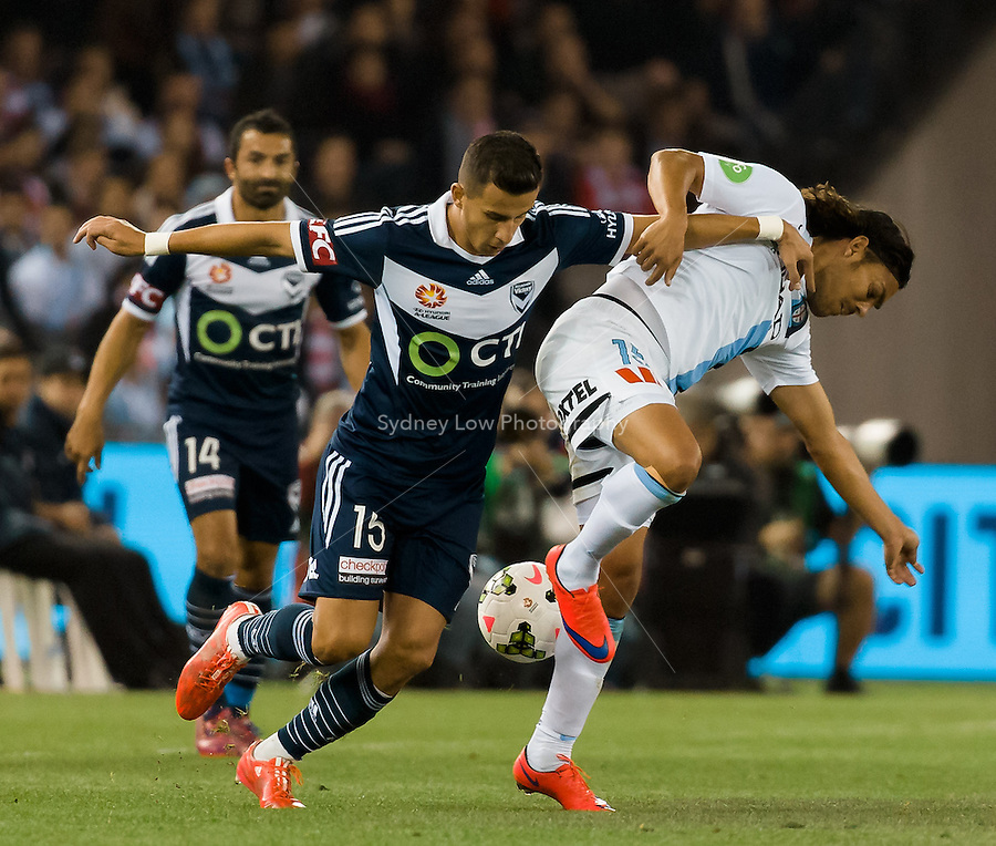 David Williams of City fights for the ball in the semi final match between Melbourne Victory and Melbourne City in the Australian Hyundai A-League 2015 season at Etihad Stadium, Melbourne, Australia.<br />