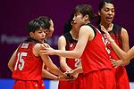 (L-R)  Shiori Yasuma, Haruka Suzuki, Reira Takehara (JPN), <br /> AUGUST 15, 2018 - Basketball : Women's Qualification round match between Hong Kong 44-121 Japan at Gelora Bung Karno Basket Hall A during the 2018 Jakarta Palembang Asian Games in Jakarta, Indonesia.<br /> (Photo by MATSUO.K/AFLO SPORT)
