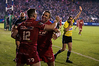 Scarlets&rsquo; Scott Williams celebrates scoring his side's fourth try with team mate Hadleigh Parkes<br /> <br /> Photographer Bob Bradford/CameraSport<br /> <br /> European Champions Cup Round 5 - Bath Rugby v Scarlets - Friday 12th January 2018 - The Recreation Ground - Bath<br /> <br /> World Copyright &copy; 2018 CameraSport. All rights reserved. 43 Linden Ave. Countesthorpe. Leicester. England. LE8 5PG - Tel: +44 (0) 116 277 4147 - admin@camerasport.com - www.camerasport.com