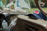 A hog hat in Thomas Kings' truck. The Kings raise hogs for Smithfield Foods, Inc near Wallace, NC Tuesday, May 15, 2018. (Justin Cook for The Guardian)