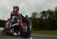 Oct. 8, 2012; Mohnton, PA, USA: NHRA pro stock motorcycle rider Eddie Krawiec during the Auto Plus Nationals at Maple Grove Raceway. Mandatory Credit: Mark J. Rebilas-
