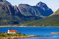 Norway, Lofoten. Sildpollnes Kapell (Chapel) is located at Austnesfjorden north of Svolvær.