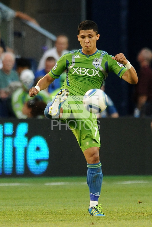 Fredy Montero (17) ) forward Seattle Sounders in acrion... Sporting Kansas City were defeated 1-2 by Seattle Sounders at LIVESTRONG Sporting Park, Kansas City, Kansas.