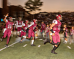 September 21, 2017. Durham, North Carolina.<br /> <br /> The NCCU football team takes the field. <br /> <br /> The NCCU Eagles won a home game against the the South Carolina State Bulldogs 33-28 at O'Kelly–Riddick Stadium.