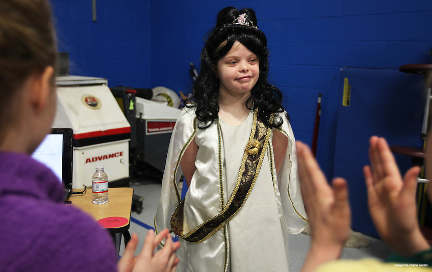 Fourth grader, Kayla Richabson, 10, playing, Anastasia Romanov, receives applause for her performance during her class's wax museum day, held at the Newfields Elementary School, in Newfields, N.H., Friday, April 6, 2012.  (Portsmouth Herald Photo Cheryl Senter)