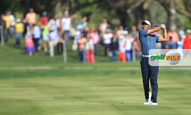 Tiger Woods (USA) on the 1st during the second round at the Abu Dhabi HSBC Golf Championship in the Abu Dhabi golf club, Abu Dhabi, UAE..Picture: Fran Caffrey/www.golffile.ie.