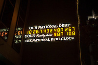 The National Debt Clock in New York. Real-estate mogul, the late Seymour Durst, created the clock on Feb. 20, 1989 to call attention to  Reaganomics. (© Richard B. Levine)