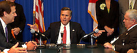 TALLAHASSEE, FL. 5/1/03-Gov. Jeb Bush, center, tries to get House Speaker Johnnie Byrd, R-Plant City, left, and Senate President Jim King, R-Jacksonville, to work out their differences during a meeting Thursday morning at the Capitol in Tallahassee. Little progress was made at the meeting, both chambers are on schedule to adjourn Friday without a budget  and several other major bills resolved...COLIN HACKLEY PHOTO