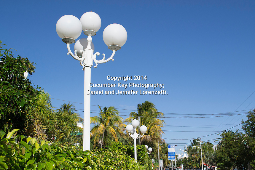 Key West is known for its historic architecture, including these gaslight-style lamp posts lining a residential street