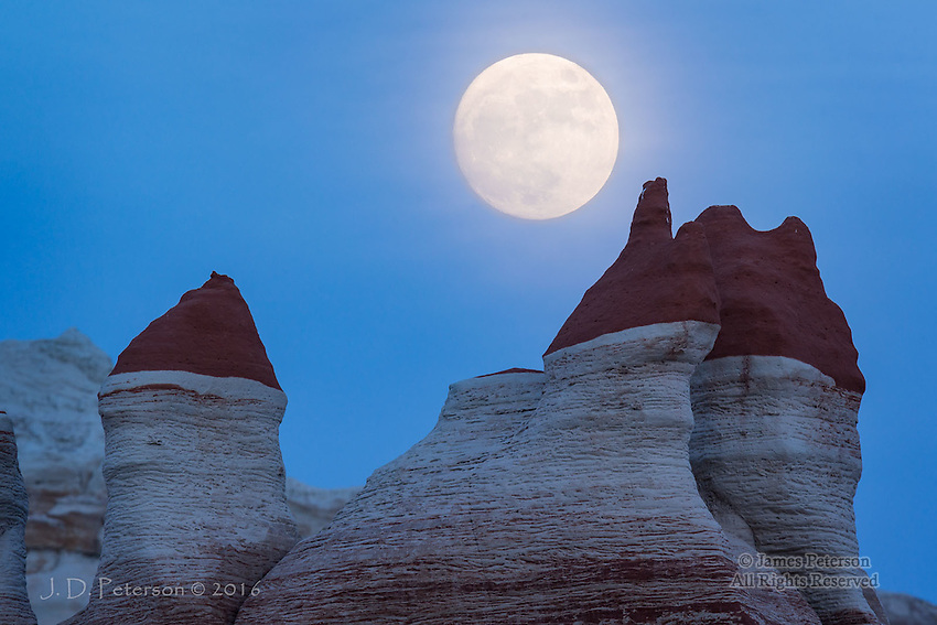 Moonrise over Moenkopi Wash ©2016 James D Peterson.  This otherworldly landscape is near Tuba City, Arizona.