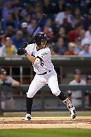 Jose Rondon (6) of the Charlotte Knights at bat against the Scranton/Wilkes-Barre RailRiders at BB&T BallPark on April 12, 2018 in Charlotte, North Carolina.  The RailRiders defeated the Knights 11-1.  (Brian Westerholt/Four Seam Images)