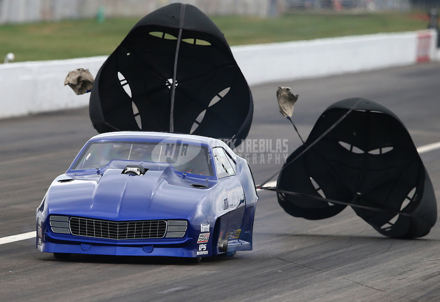 Sept. 1, 2013; Clermont, IN, USA: NHRA pro mod driver Bill Lutz during qualifying for the US Nationals at Lucas Oil Raceway. Mandatory Credit: Mark J. Rebilas-