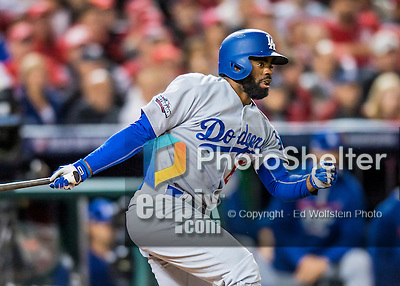 13 October 2016: Los Angeles Dodgers outfielder Andrew Toles in action during the NLDS Game 5 against the Washington Nationals at Nationals Park in Washington, DC. The Dodgers edged out the Nationals 4-3, to take Game 5, and the Series, 3 games to 2, moving on to the National League Championship against the Chicago Cubs. Mandatory Credit: Ed Wolfstein Photo *** RAW (NEF) Image File Available ***