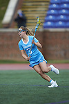 Jamie Ortega (3) of the North Carolina Tar Heels controls the ball during first half action against the High Point Panthers at Vert Track, Soccer & Lacrosse Stadium on February 16, 2018 in High Point, North Carolina.  The Tar Heels defeated the Panthers 14-10.  (Brian Westerholt/Sports On Film)