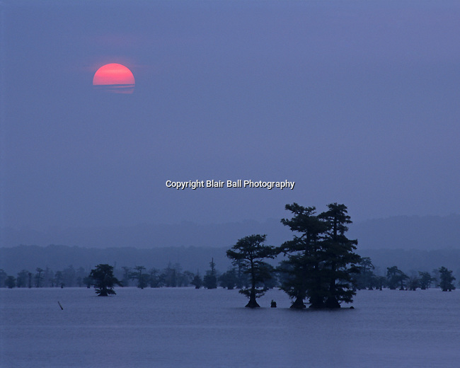 Sunrise at Reel Foot Lake and 1st Place in landscape in Mid South Fair.