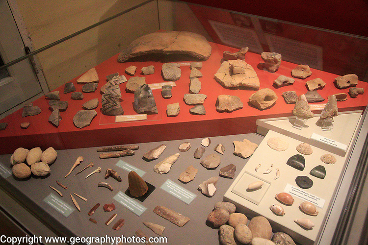 Pottery and tool display of neolithic finds, National Museum of Archaeology, Valletta, Malta