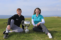 Ronan Mullarney (MU) winner of the Irish Students Amateur Open Championship and Clodagh Walsh (MU) ladies winner Tralee Golf Club, Tralee, Co Kerry, Ireland. 12/04/2018.<br /> Picture: Golffile | Fran Caffrey<br /> <br /> <br /> All photo usage must carry mandatory copyright credit (&copy; Golffile | Fran Caffrey)