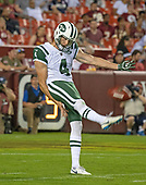 New York Jets punter Lac Edwards (4) punts in the first quarter against the Washington Redskins at FedEx Field in Landover, Maryland on Thursday, August 16, 2018.<br /> Credit: Ron Sachs / CNP<br /> (RESTRICTION: NO New York or New Jersey Newspapers or newspapers within a 75 mile radius of New York City)