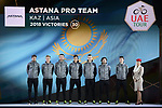 Astana Pro Team on stage at the inaugural UAE Tour 2019 opening ceremony and team presentation held in the Louvre Abu Dhabi, United Arab Emirates. 23rd February 2019.<br /> Picture: LaPresse/Fabio Ferrari | Cyclefile<br /> <br /> <br /> All photos usage must carry mandatory copyright credit (© Cyclefile | LaPresse/Fabio Ferrari)