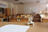 """Ein Preis, den Alexander für seine Tätigkeit als Lehrer bekam, Alexander Jadrin ist ein Lehrer als Quereinsteiger im Rahmen des Programmes """"Lehrer für Russland"""". Er lehrt seit 4 Jahren an der Grundschule in Karinskoje, 70 km westlich von Moskau. / Alexander Yadrin in Karinskoye school"""