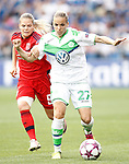 VfL Wolfsburg's Isabel Kerschowski (r) and Olympique Lyonnais's Eugenie Le Sommer during UEFA Women's Champions League 2015/2016 Final match.May 26,2016. (ALTERPHOTOS/Acero)