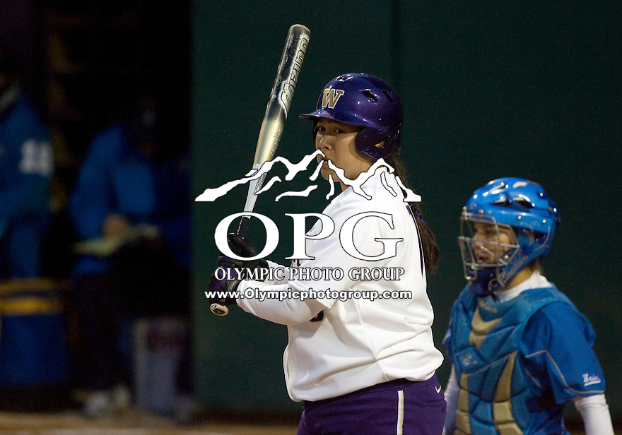 1 April 2010:  Washington Huskies first baseman Hooch Fagaly sets up in the batters box against UCLA. UCLA defeated Washington 1-0 at Husky Softball Stadium in Seattle, WA.