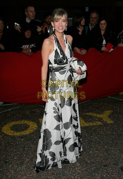CLAIRE GOOSE.Arrivals - Greatest Britons 2007 Awards Show, .The London Studios, London, Engand, May 21st 2007. .full length black and white halterneck print long maxi dress clare.CAP/AH.©Adam Houghton/Capital Pictures.