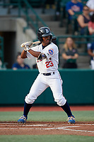 Brooklyn Cyclones Kennie Taylor (23) at bat during a NY-Penn League game against the Tri-City ValleyCats on August 17, 2019 at MCU Park in Brooklyn, New York.  Brooklyn defeated Tri-City 2-1.  (Mike Janes/Four Seam Images)