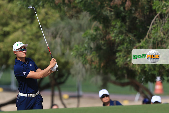 Haotong Li (CHN) on the 3rd during Round 3 of the Omega Dubai Desert Classic, Emirates Golf Club, Dubai,  United Arab Emirates. 26/01/2019<br /> Picture: Golffile | Thos Caffrey<br /> <br /> <br /> All photo usage must carry mandatory copyright credit (&copy; Golffile | Thos Caffrey)