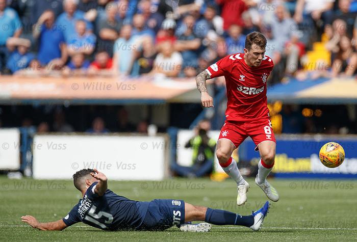 04.08.2019 Kilmarnock v Rangers: Mohammed El Makrini tackles Ryan Jack