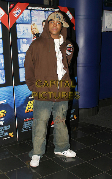 BRADLEY MCINTOSH.Agent Cody Banks 2 premiere.24 March 2004.full length, full-length, baseball cap, hat, hooded top, denim jeans, white trainers.www.capitalpictures.com.sales@capitalpictures.com.© Capital Pictures.