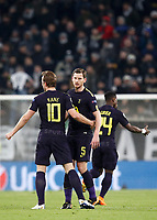 Football Soccer: UEFA Champions League Juventus vs Tottenahm Hotspurs FC Round of 16 1st leg, Allianz Stadium. Turin, Italy, February 13, 2018. <br /> Tottenham's Harry Kane (l) celebrates after scoring with his teammate Jan Vertonghen (r) during the Uefa Champions League football soccer match between Juventus and Tottenahm Hotspurs FC at Allianz Stadium in Turin, February 13, 2018.<br /> UPDATE IMAGES PRESS/Isabella Bonotto