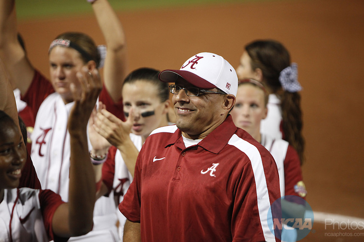 06 JUNE 2012:  The University of Alabama takes on the University of Oklahoma during the Division I Women's Softball Championship held at ASA Hall of Fame Stadium in Oklahoma City, OK. Alabama defeated Oklahoma 5-4 to win the National Championship.   Shane Bevel/NCAA Photos