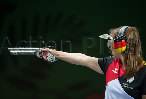22.06.2015. Baku, Azerbaijan. 1st European Games. Germany's Monika Karsch competes in the Shooting - Mix Teams 10m Air Pistol final at the Baku 2015 European Games in Baku in Baku Shooting Center in Baku, Azerbaijan