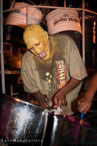 Trinidad Carnival, Bands practicing in the street, Silver Stars Steelband, Mud mas, Tune Battlezone, Gene De'Espayne