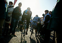 111th Paris-Roubaix 2013..Gregory Rast (CHE) making his way through the crowd