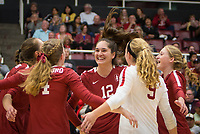 Stanford, CA - October 18, 2019: Madeleine Gates, Meghan McClure, Audriana Fitzmorris, Morgan Hentz, Kate Formico at Maples Pavilion. The No. 2 Stanford Cardinal swept the Colorado Buffaloes 3-0.