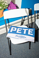A campaign sign rests on a chair during the opening of a new campaign office for Democratic presidential candidate and South Bend, Ind., mayor Pete Buttigieg, in Concord, New Hampshire, on Thu., September 5, 2019.