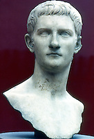 Greek Art:  Caligula--bust of the Roman Emperor (rules A.D. 37-41).  Marble sculpture.  Metropolitan Museum of Art.