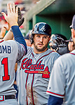 8 July 2017: Atlanta Braves first baseman Matt Adams returns to the dugout after hitting a 3-run homer in the 9th inning against the Washington Nationals at Nationals Park in Washington, DC. The Braves shut out the Nationals 13-0 to take the third game of their 4-game series. Mandatory Credit: Ed Wolfstein Photo *** RAW (NEF) Image File Available ***