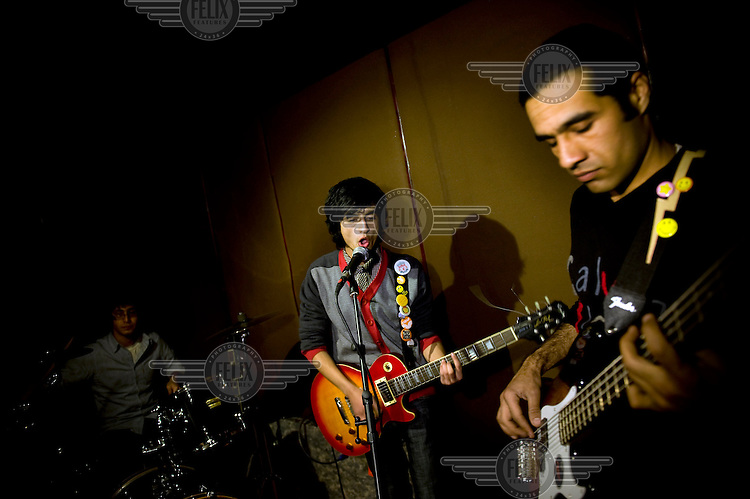 Rock band Kabul Dreams make a music video in Kabul. Kabul Dreams is made up of singer/guitarist Sulyman Qardash, bass player Siddique Ahmad and drummer Mujtaba Habibi, and they claim to be the country's first and only rock and roll group.