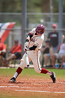 Saint Joseph's Hawks pinch hitter Liam Bendo (5) hits a single during a game against the Ball State Cardinals on March 9, 2019 at North Charlotte Regional Park in Port Charlotte, Florida.  Ball State defeated Saint Joseph's 7-5.  (Mike Janes/Four Seam Images)