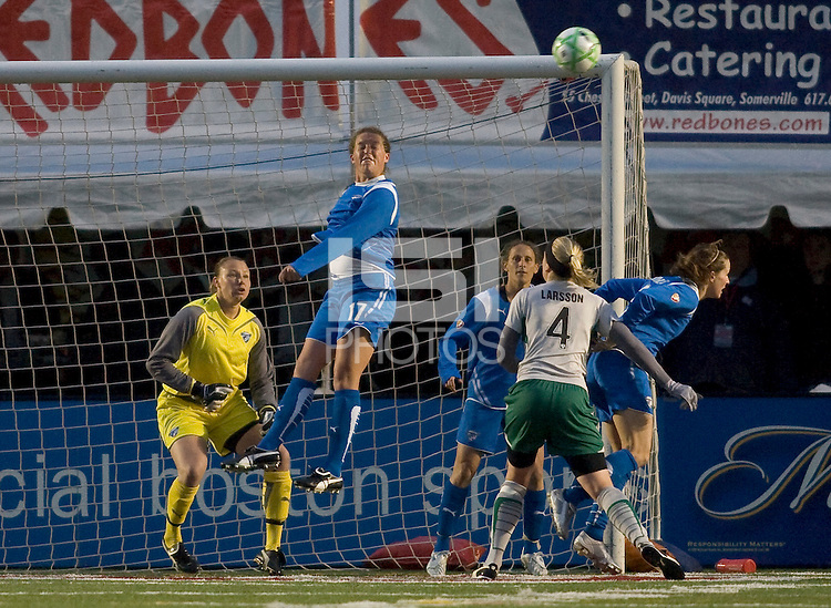 Boston Breakers defender Kasey Moore (17) heads the ball on defense near the net. The Boston Breakers defeated Saint Louis Athletica, 2-0, at Harvard Stadium on April 11, 2009.