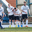 Raith Rovers' Mark Stewart (centre) is congratulated after he scores their first goal.