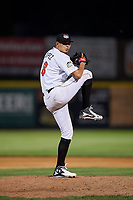 Tri-City ValleyCats relief pitcher Juan Pablo Lopez (18) delivers a pitch during a game against the Vermont Lake Monsters on June 16, 2018 at Joseph L. Bruno Stadium in Troy, New York.  Vermont defeated Tri-City 6-2.  (Mike Janes/Four Seam Images)
