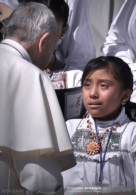 A Mexican child of the Voces Choir<br /> Yumhu, gets emotional in front of the Pope<br /> Pope Francis during of a weekly general audience at St Peter's square in Vatican.September 20, 2017